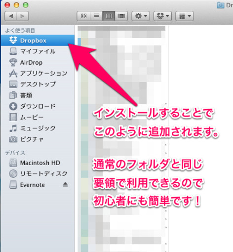 Dropboxフォルダ